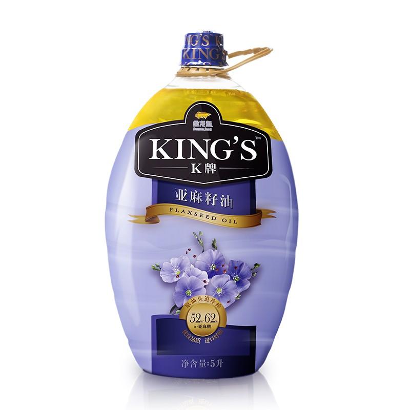 KING'S 食用油 进口原料-初榨一级 亚麻籽油 5L 进口原料粮油