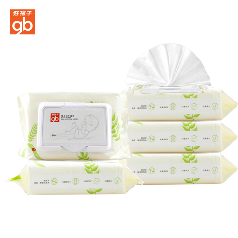 GoodBaby好孩子 宝宝手口专用小麦湿纸巾婴儿湿巾80抽(盖装)5包