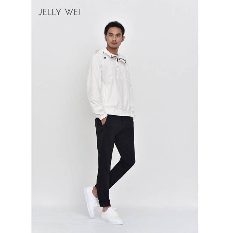 JELLY WEI 原创设计师品牌简约精致舒适个性男士黑色针织休闲通勤长裤