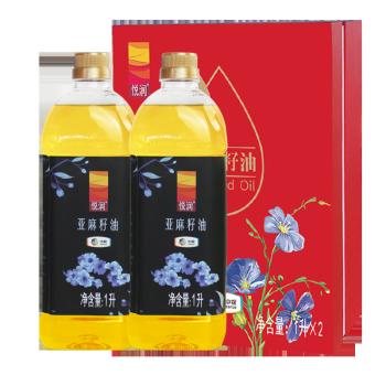中粮悦润亚麻籽油礼盒1L*2瓶