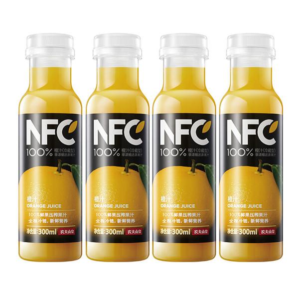 农夫山泉 NFC果汁(低温冷藏果汁)100%鲜榨橙汁 鲜果冷压榨   赣南脐橙汁 0添加 300ml*6瓶 发全国