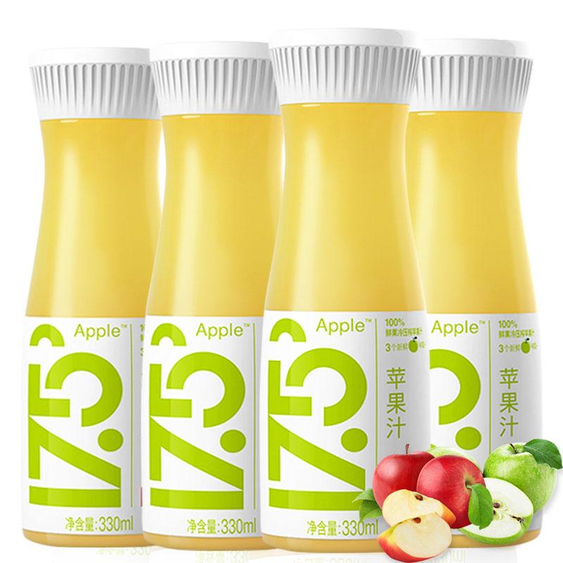 农夫山泉17.5°NFC鲜苹果汁 100%果汁 0添加 低温冷藏果汁 330ml*4瓶  发全国