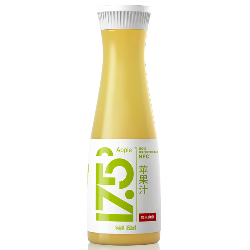 农夫山泉17.5°NFC鲜榨苹果汁 950ml*3  100%果汁 0添加  低温冷藏果汁 发全国