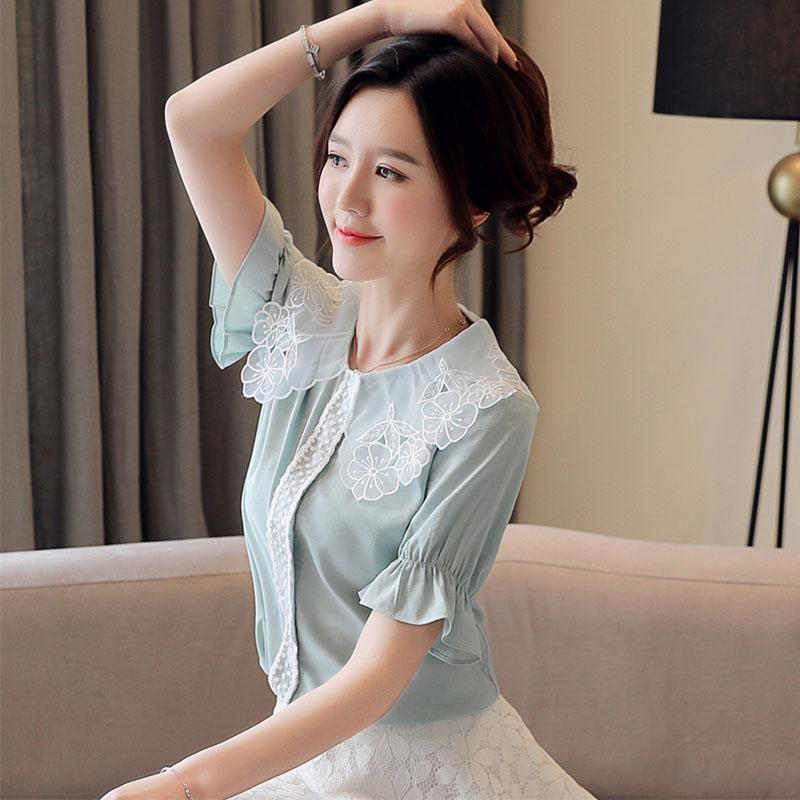 PINGSE平色2020夏季新款娃娃领淑女可人蕾丝雪纺衫女