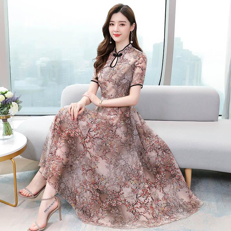 PINGSE平色2020夏季新款碎花雪纺复古旗袍改良版短袖连衣裙女