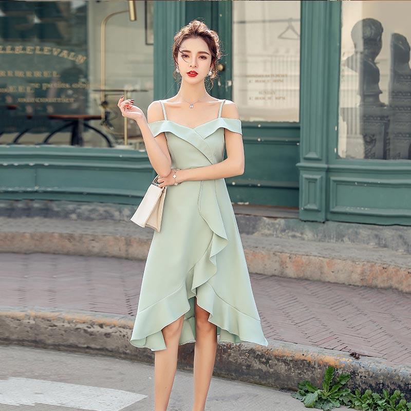 PINGSE平色2020夏季新款法式吊带露肩式中长裙修身荷叶边性感礼服连衣裙PXNN9182
