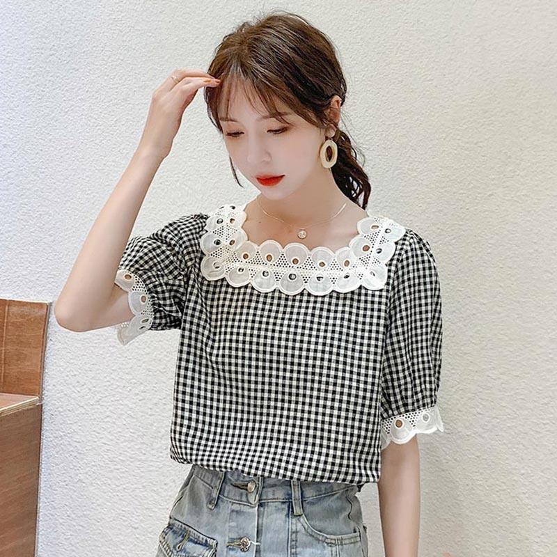 PINGSE平色2020夏季新款方领法式泡泡袖撞色格子短袖衬衫女PFDE568