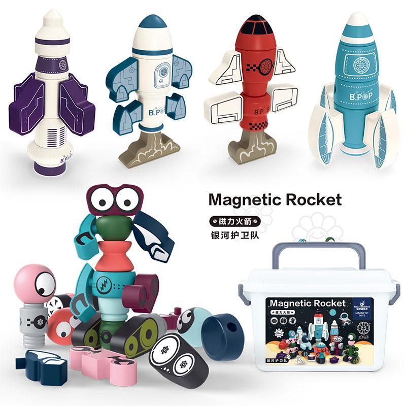 聪明建筑师磁力积木玩具机器人变形合体DIY