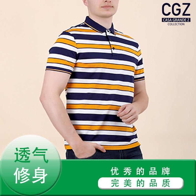 CGZ 男款 T恤 黄蓝白条纹 商务休闲 夏季款 标准版型 常规 CQB20866-58