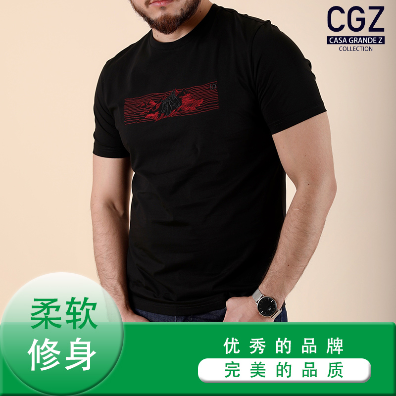 CGZ 男款 T恤 黑色 商务休闲 夏季款 标准版型 常规 CQB18851-28