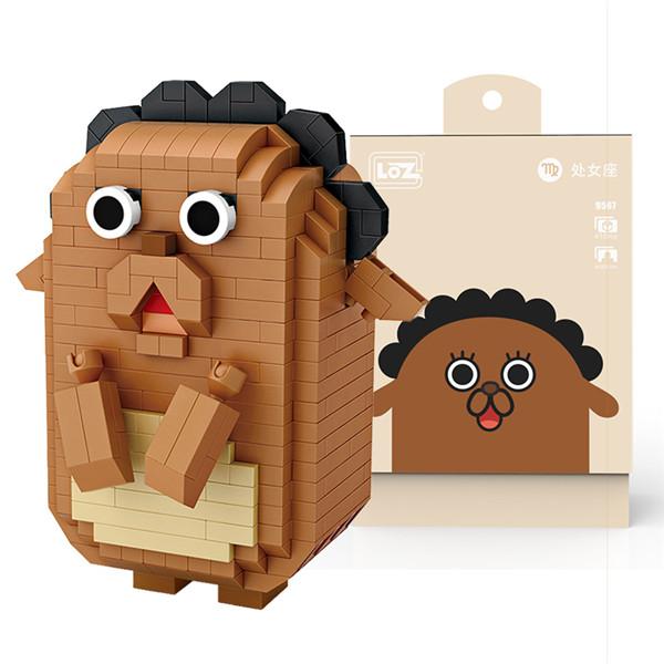 LOZ俐智微钻小颗粒拼插积木同道大叔创意卡通迷你公仔拼装积木玩具模型玩具十二星座 9567处女座