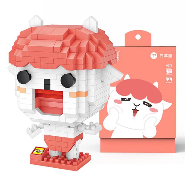 LOZ俐智微钻小颗粒拼插积木同道大叔创意卡通迷你公仔拼装积木玩具模型玩具十二星座 9573白羊座