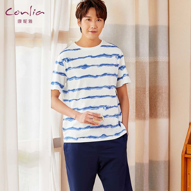 康妮雅2020新款男士睡衣夏季薄款纯棉短袖短裤家居服全棉大码套装02061103506蓝色系