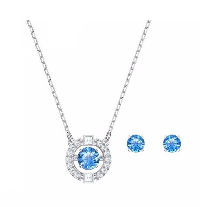 施华洛世奇 蓝色耀动的心SPARKLINGDC女项链耳环5480485