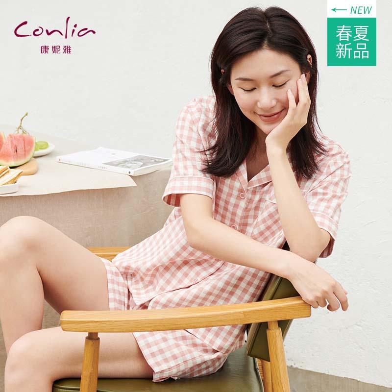 康妮雅夏季新款女士短袖短裤开胸睡衣女格纹家居服套装薄92162106202红色系