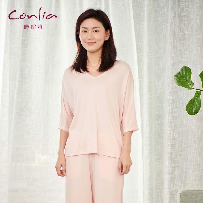 康妮雅夏季新款薄款莫代尔女士短袖七分裤套头睡衣家居套装女92162108702红色系