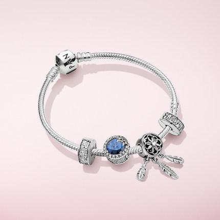 Pandora潘多拉官网 佳期如梦手链套装优雅蓝色气质动人女ZT0356