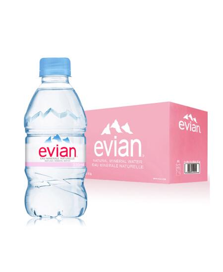 法国原装进口 依云(evian)天然矿泉水 330ml*24瓶饮用水整箱装