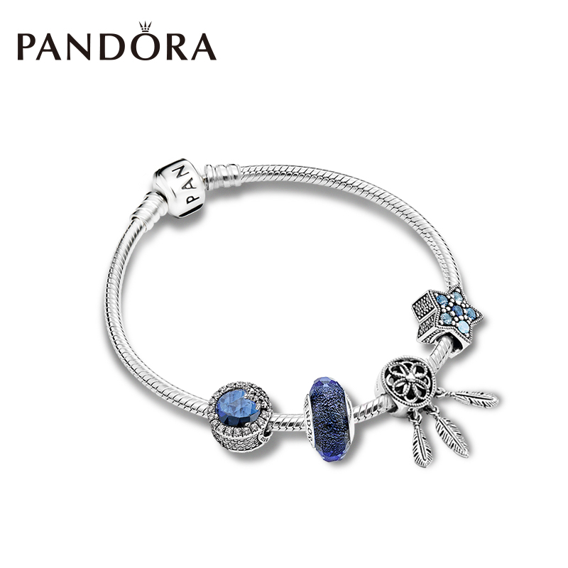 Pandora潘多拉 梦幻星辰捕梦网手链套装简约优雅气质女ZT0160