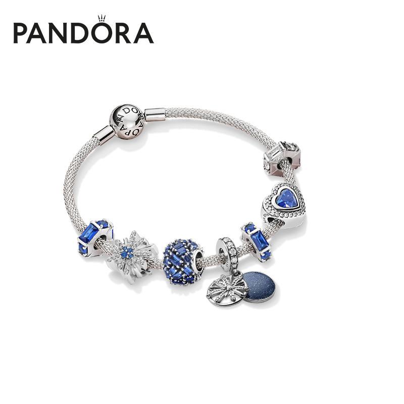 PANDORA潘多拉璀璨烟花手镯蓝色手链套装送女友礼物 银色ZT0239