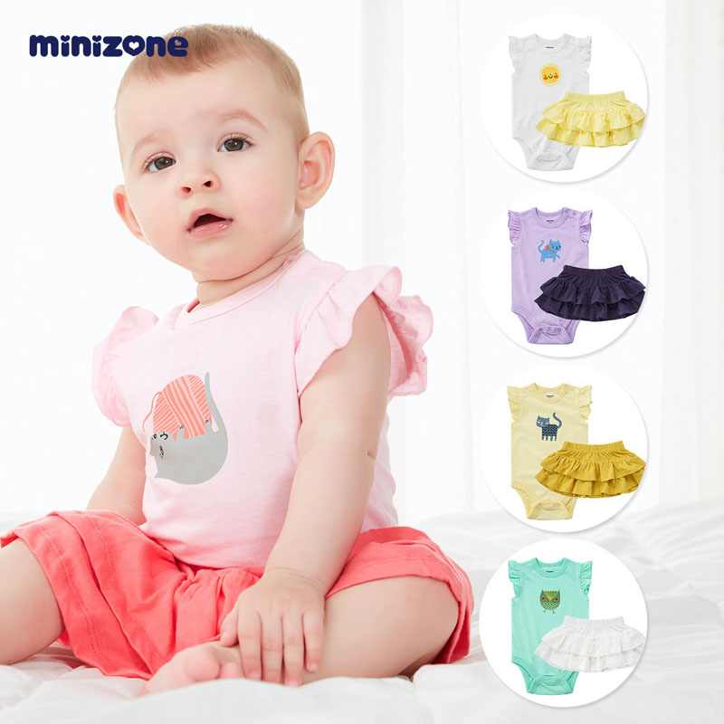 minizone宝宝短袖连体衣包屁衣夏装婴儿蛋糕裙公主半身短裙两件套M1277