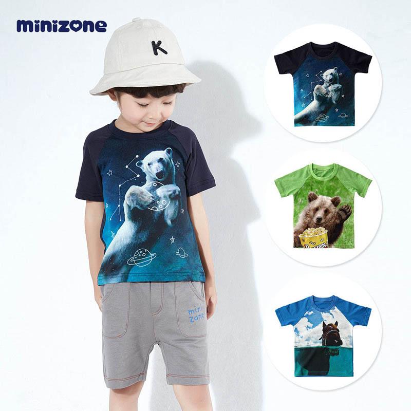 minizone童装半袖男童短袖t恤上衣3-6岁韩版儿童新款体恤纯棉男孩夏装 M1173