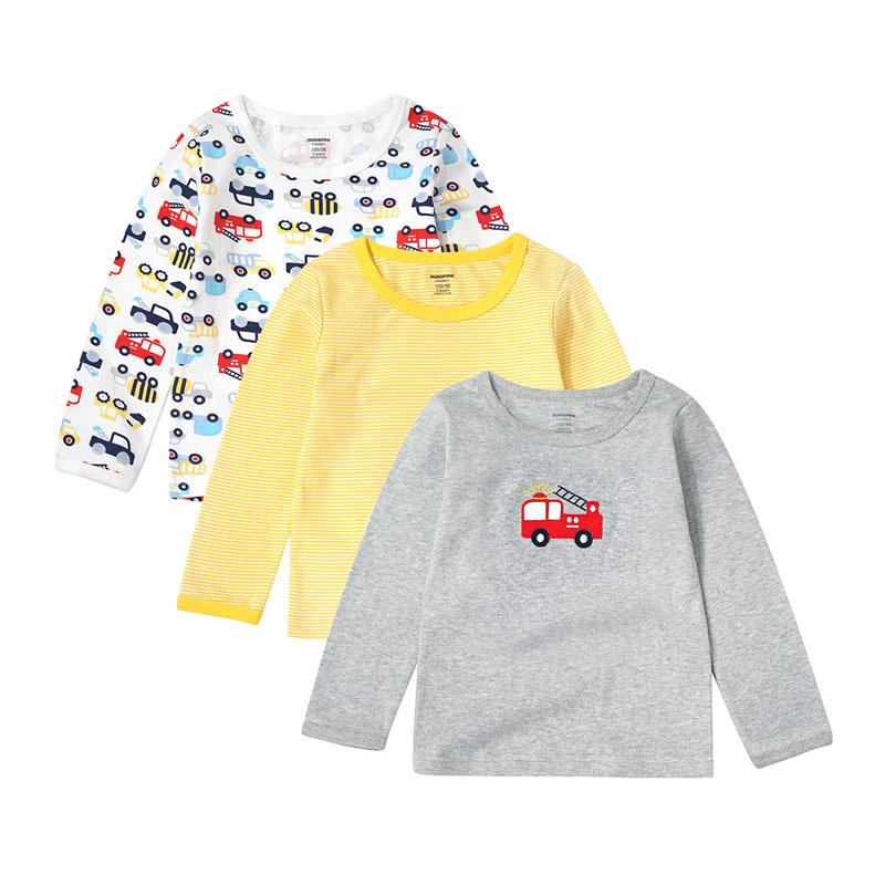 minizone童装男女童纯棉长袖t恤上衣儿童打底衫儿童圆领套头衫休闲体恤J1020