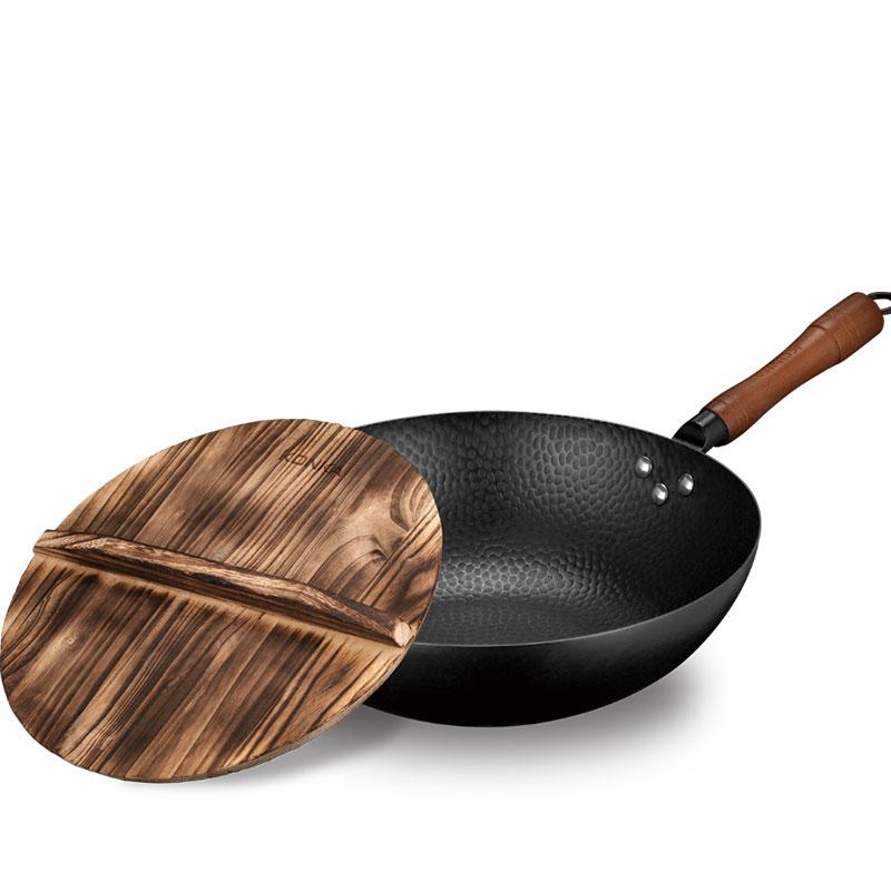 KONKA康佳 匠心锻打老铁锅木质锅盖圆底不粘锅炒锅锅具厨房用品KZ-G1706