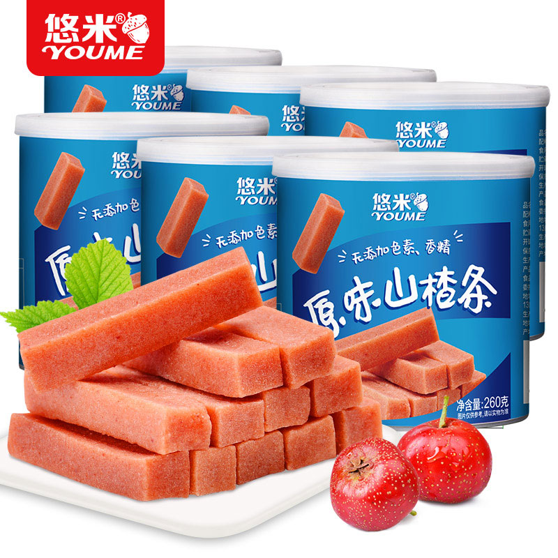 悠米休闲零食 果脯蜜饯原味山楂条260g*6罐