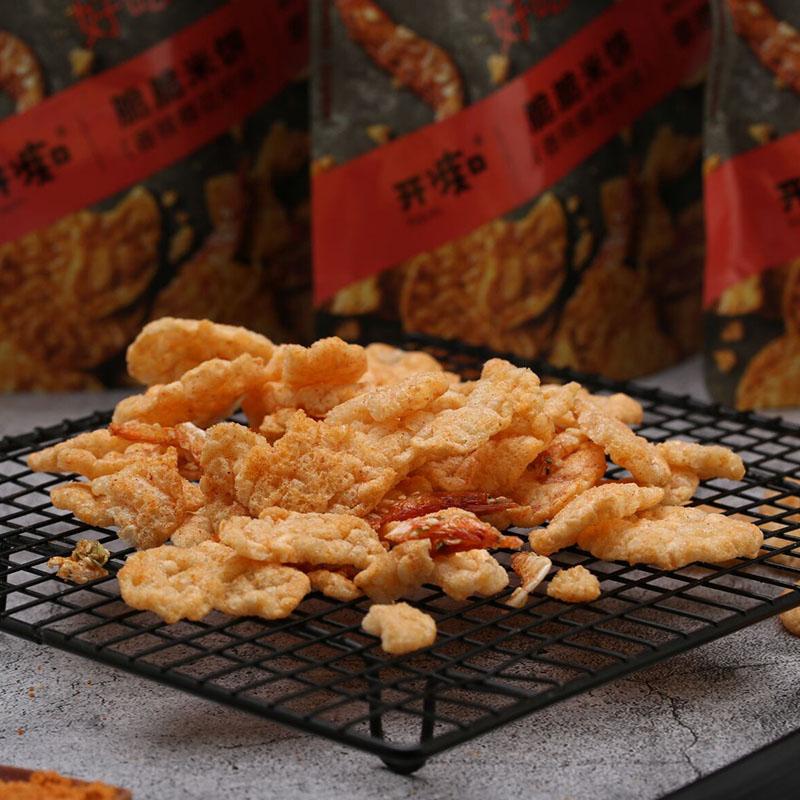 开痴 鲜虾与米饼的完美结合 香辣樱花虾脆脆米饼 甜辣绝妙搭配 旅行必备 健康非油炸 52g/袋*3袋