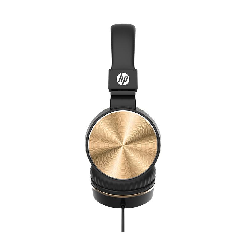 惠普(HP) DHH1206 HIFI级别音乐耳机 头戴半包式有线音乐耳机带麦克风 适用于华为小米 黑金色