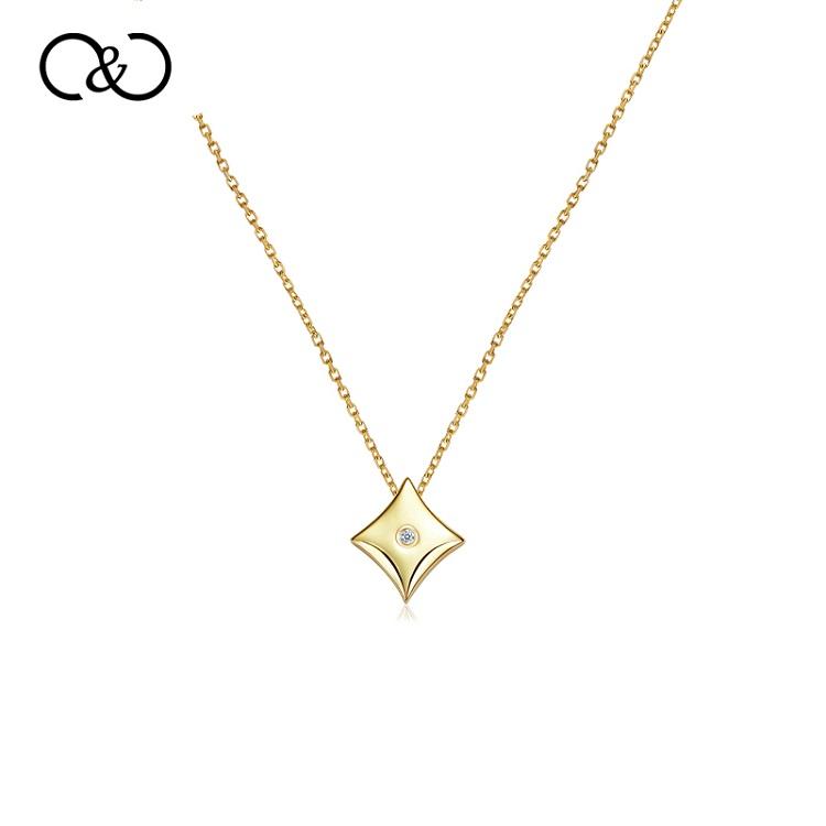 【李湘直播间同款】C&C 真钻项链纯粹系列铜镀18K金菱形项链CCNL118GD-H(菱形)