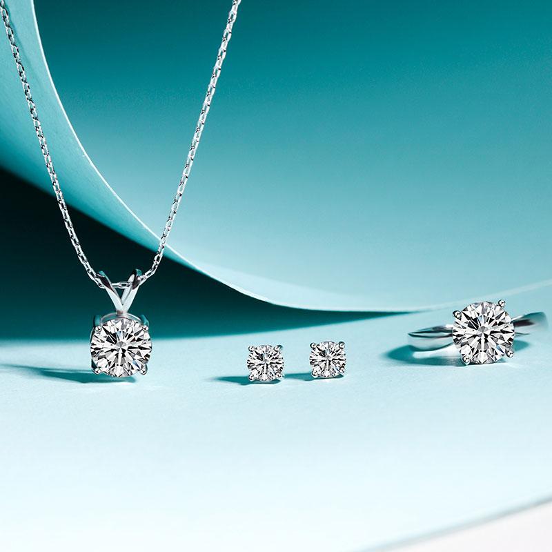 C&C正版施华洛世奇®授权水晶美丽佳人系列水晶项链水晶耳饰水晶戒指三件套LCCSH001WH