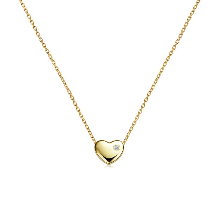 【李湘直播间同款】C&C 真钻项链纯粹系列铜镀19K金爱心项链CCNL119GD-H(爱心)