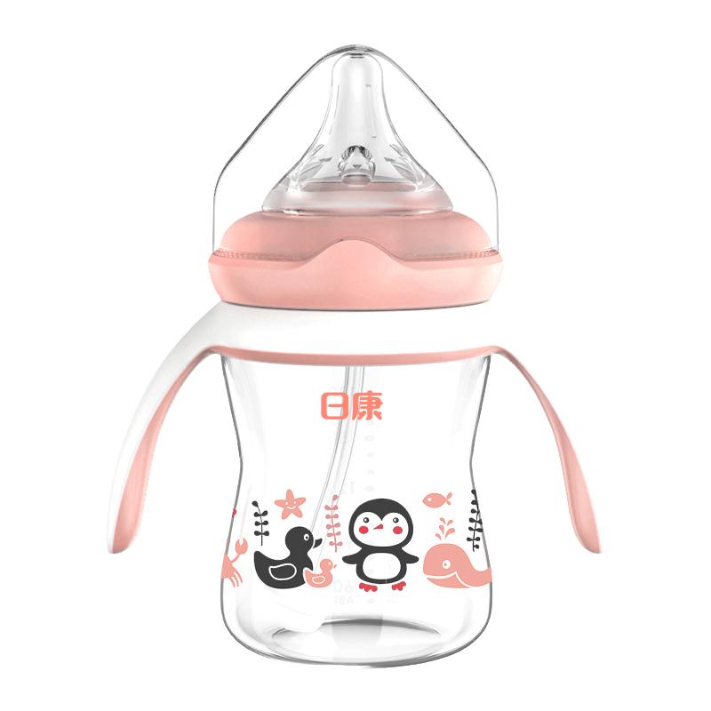 日康宽口有柄玻璃奶瓶新生婴儿防胀气奶瓶带吸管十字硅胶奶嘴