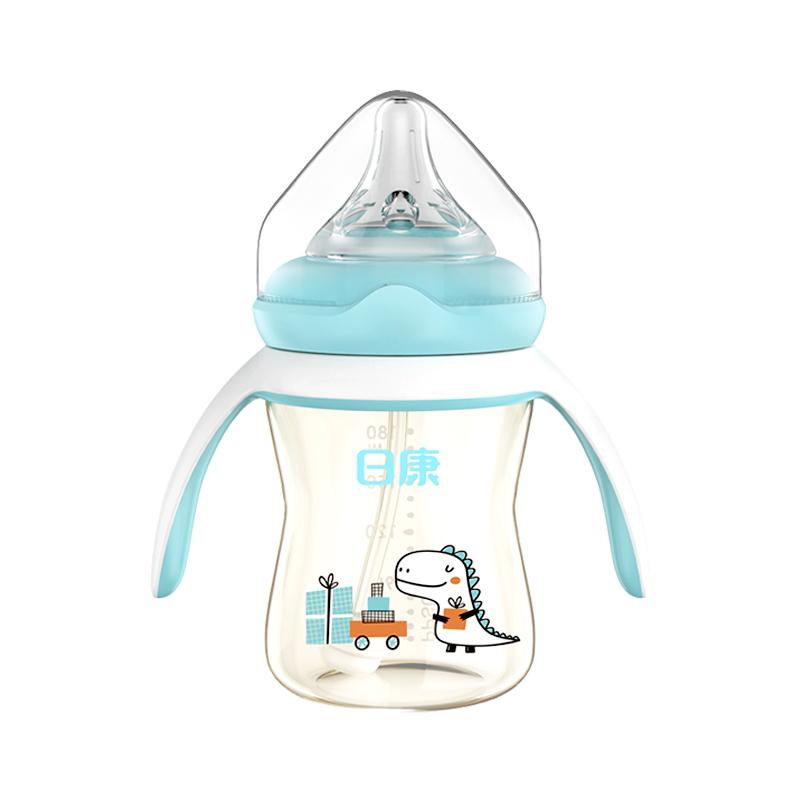 日康婴儿ppsu奶瓶宽口径带手柄耐摔新生儿宝宝防胀气吸管奶瓶180ml/240ml