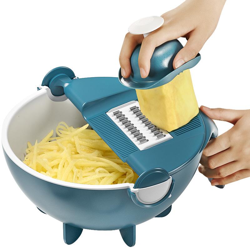 翰乐 多功能切菜器可当滤水篮(颜色随机发)