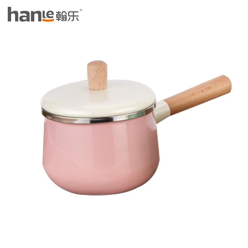 翰乐 日式珐琅搪瓷奶锅 HL-N01粉色16cm*1.8L