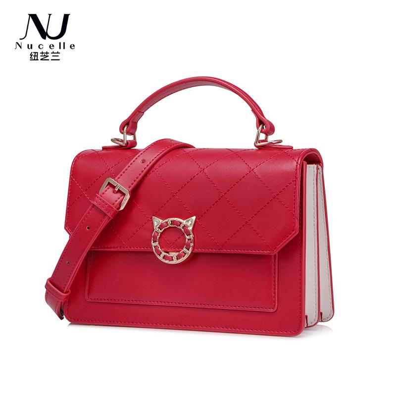 纽芝兰斜挎包女2020新款潮韩版百搭单肩包红色可爱菱格手提风琴包1171647