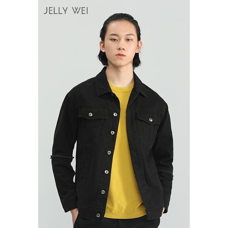 秋季 新款 JELLY WEI 原创设计师品牌   黑色 斜纹 休闲 夹克   男装 外套
