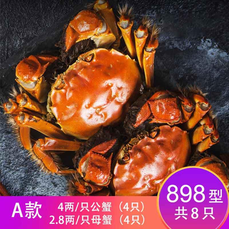 【卡劵】故味食集阳澄湖大闸蟹898型   A款4两/只2.8两/只 8只(各4只)