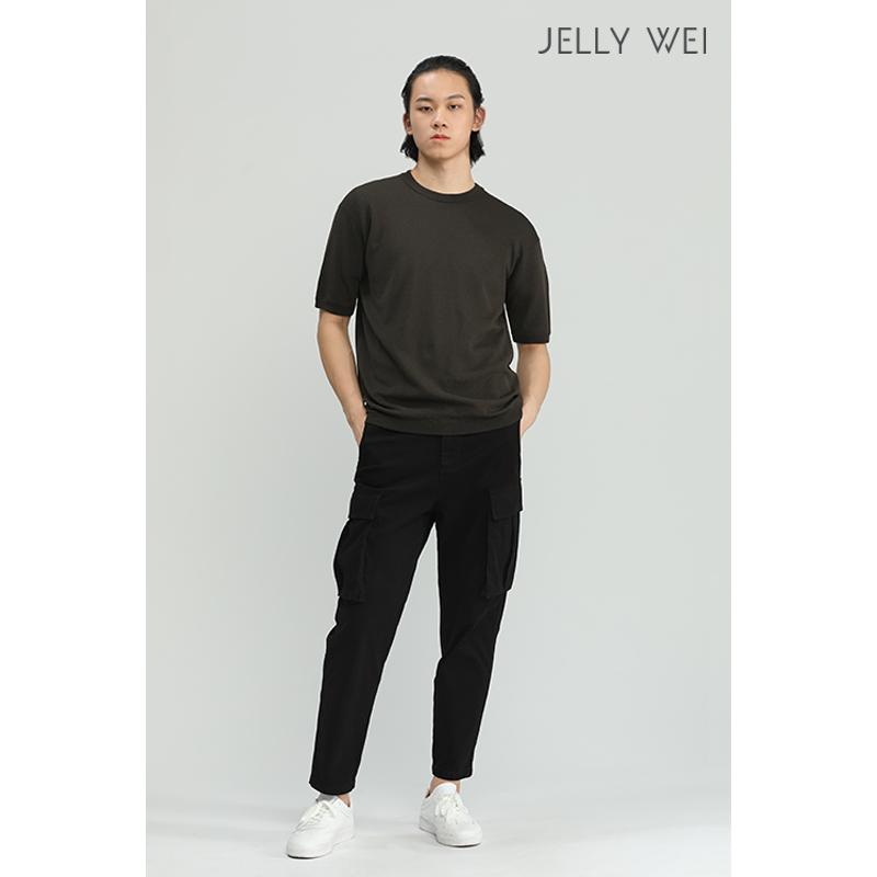 秋季 新款 JELLY WEI 原创设计师品牌 圆领短袖毛衣 舒适 亲肤 男装