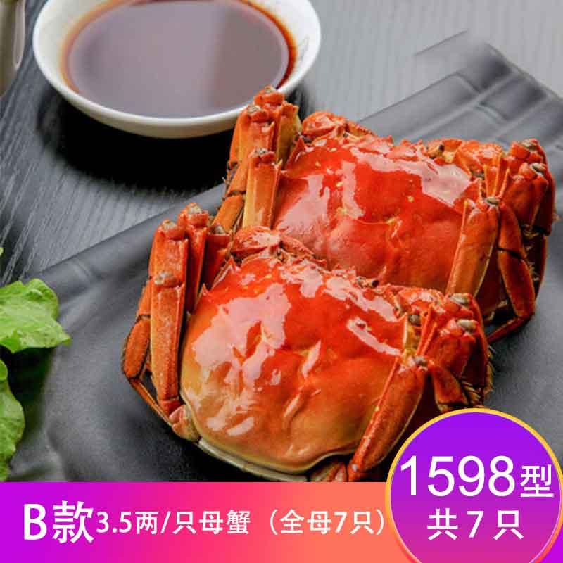 【卡劵】故味食集阳澄湖大闸蟹 1598型  B款3.5两/只   全母7只
